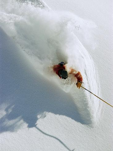Dave Richards Skiing in Deep Powder Snow Photographic Print