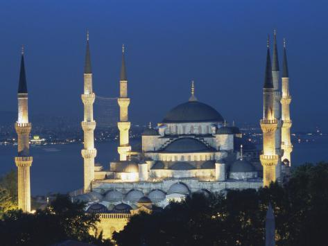Blue Mosque (Sultan Ahmet Mosque) at Night, Istanbul, Turkey Photographic Print