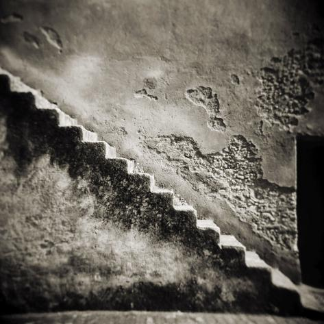 Staircase on the Outside of an Old Stone Wall, Chefchaouen, Morocco Photographic Print
