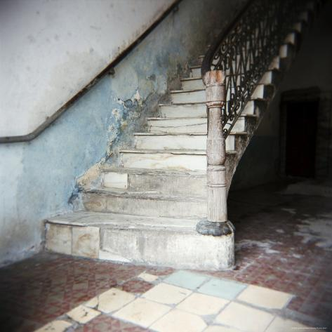 Stairway in Apartment Block, Cienfuegos, Cuba, West Indies, Central America Photographic Print