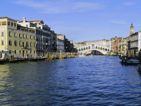 View Along the Grand Canal Towards the Rialto Bridge, Veneto, Italy Photographic Print