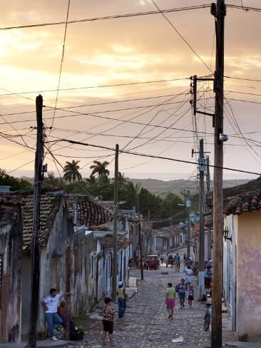 View Along Traditional Cobbled Street at Sunset, Trinidad, Cuba, West Indies, Central America Photographic Print