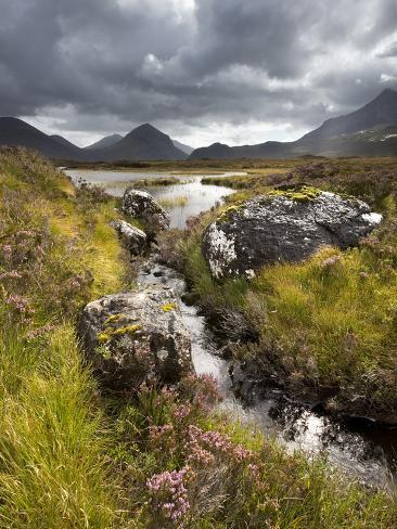 View over Loch Caol to Sgurr Nan Gillean and Marsco, Glen Sligachan, Isle of Skye, Highlands, Scotl Photographic Print