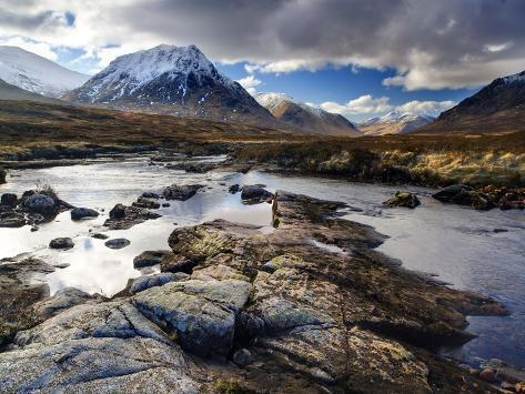 View Over River Etive Towards Snow-Capped Mountains, Rannoch Moor, Near Fort William, Scotland Photographic Print
