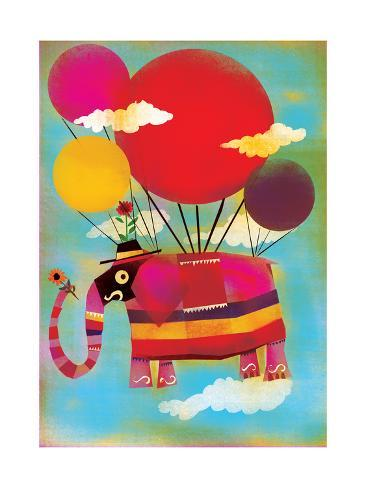 Elephant Flying on Balloons Art Print
