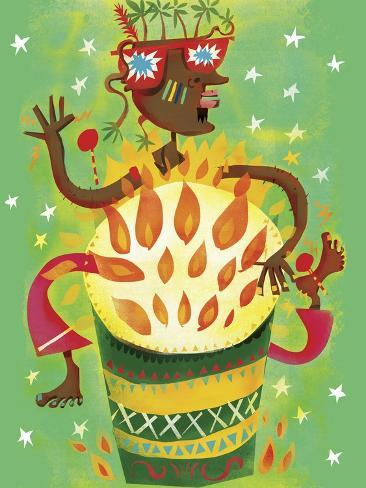 Funky Drummer Playing Burning Bongo Drum Art Print