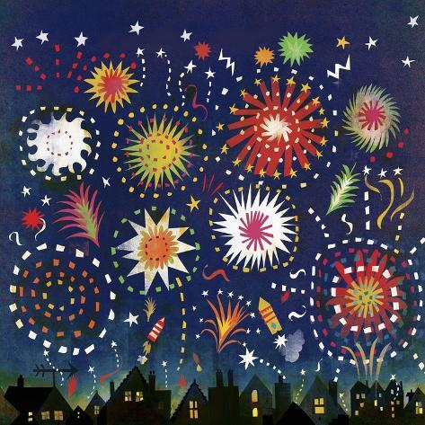 Multicolored Fireworks in Night Sky Above Houses Art Print