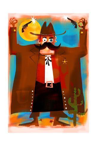 Sheriff with Shooting Guns Art Print