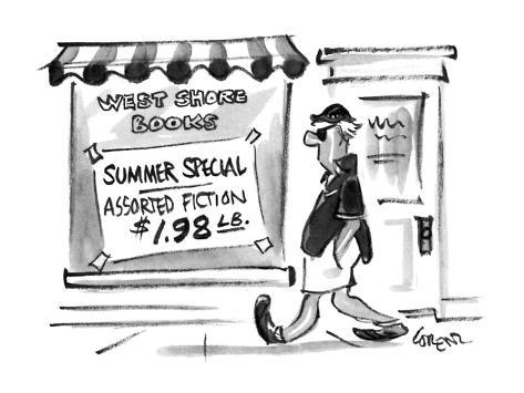 A man walks by a bookstore with a sign in the window. - New Yorker Cartoon Premium Giclee Print