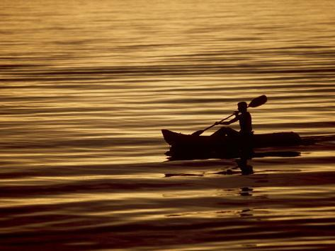 Person in Boat in Water Photographic Print