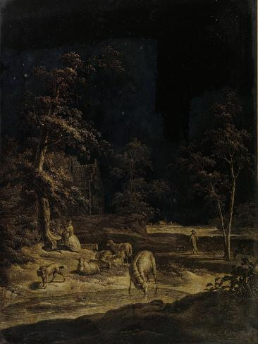 Shepherdess with Sheep Art Print