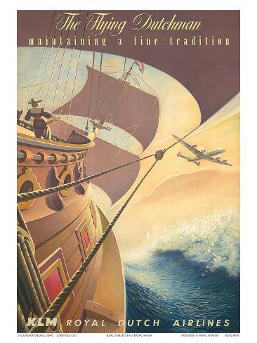 KLM Royal Dutch Airlines: The Flying Dutchman, c.1956 Art Print