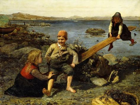 See-Saw by the Sea Giclee Print