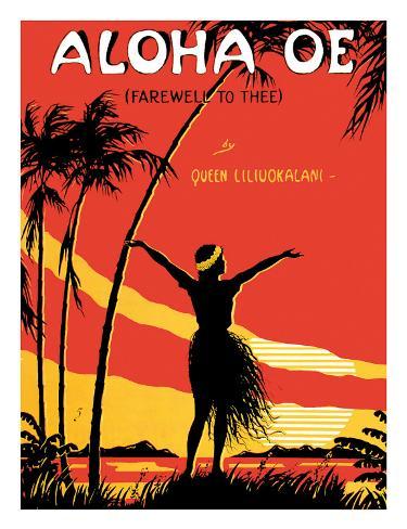 Aloha Oe, Farewell to Thee, Music Sheet, c.1930 Giclee Print