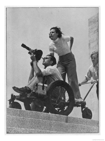 Leni Riefenstahl Directs Cameraman Walter Frentz During the Filming of the Berlin Olympics Giclee Print