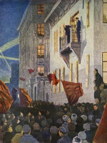 Lenin Speaking from the Balcony of the Kshesinska Mansion in July 1917 Lámina giclée