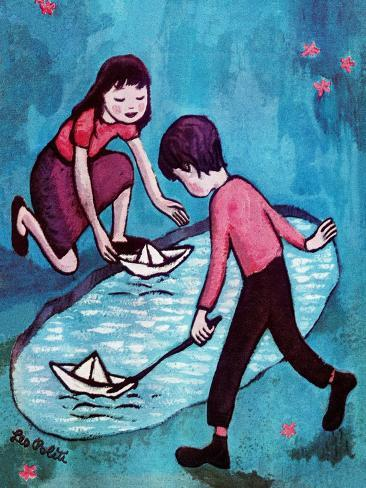 Paper Boats - Jack & Jill Giclee Print
