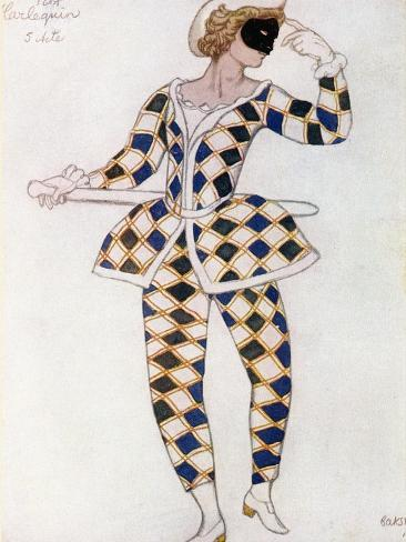 Costume Design for Harlequin, from Sleeping Beauty, 1921 Giclee Print