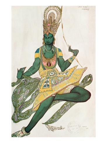 Costume Design for Nijinsky (1889-1950) for His Role as the 'Blue God', 1911 (W/C on Paper) Giclee Print