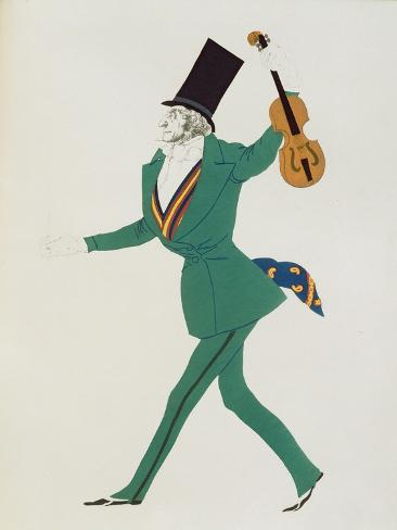 Costume Design for Paganini in 'The Enchanted Night' by Gabriele d'Annunzio Lámina giclée