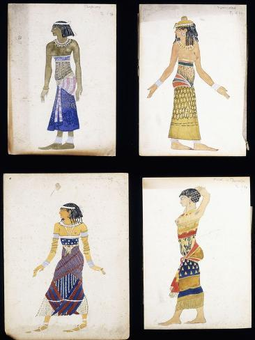 Egyptian Costume Designs for a Dancer a Musician Ta-Or and Cleopatrau0027s Sister  sc 1 st  AllPosters.ca & Egyptian Costume Designs for a Dancer a Musician Ta-Or and ...