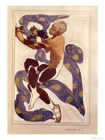 L'Apres Midi d'Un Faune, Costume Design for Nijinsky (1890-1950) Giclee Print