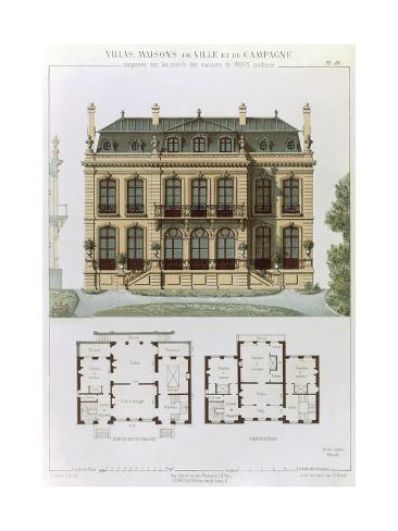 Parisian Suburban House and Plans Giclee Print