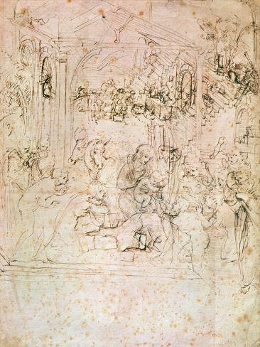 Composition Sketch For the Adoration of the Magi, 1481 Giclee Print