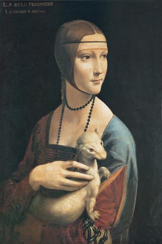 La dama del armiño Reproducción de lámina sobre lienzo