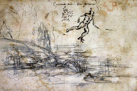Landscape, Profile and Male Figure Lámina giclée
