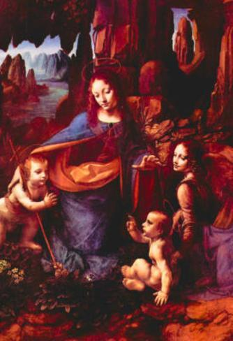 Leonardo da Vinci (Madonna in the rock grotto) Art Poster Print Masterprint