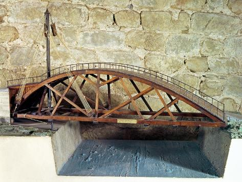Model of a Swing Bridge Made from One of Leonardo's Drawings Lámina giclée