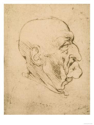 Profile of a Bald Man, Pen Drawing on White Yellowed Paper, Biblioteca Ambrosiana, Milan Giclee Print