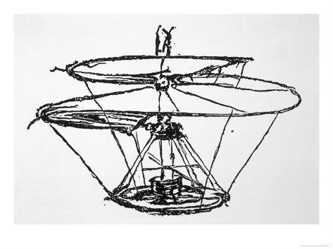 Leonardo Da Vinci Sketch of a Flying Machine Lámina giclée