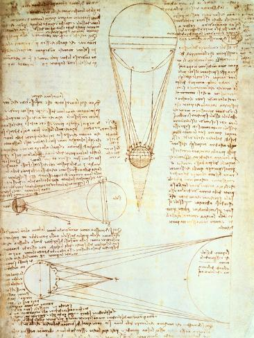 Studies of the Illumination of the Moon, Fol. 1R from Codex Leicester, 1508-1512 Giclee Print