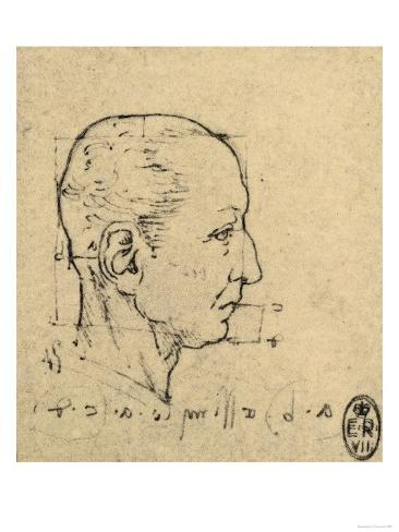 Study of the Proportions of a Human Face, Drawing, Royal Library, Windsor Giclee Print