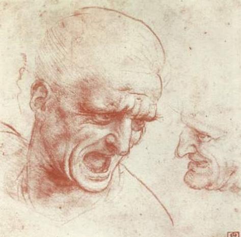 Leonardo da Vinci (Two heads) Art Poster Print Masterprint