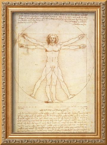 Vitruvian Man, c.1492 Framed Giclee Print