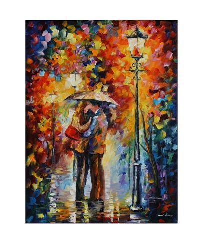 Kiss Under The Rain Art Print