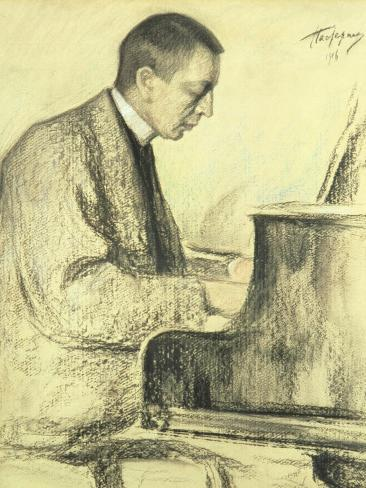 Portrait of Sergei Vasilievich Rachmaninov at the Piano, 1916 Giclee Print