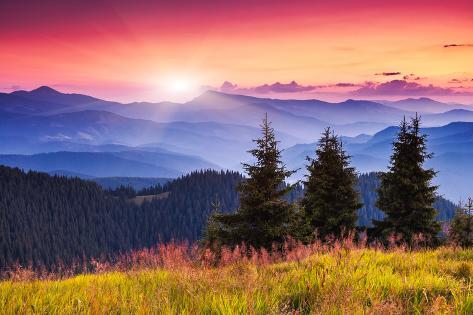 Majestic Morning Mountain Landscape with Colorful Cloud. Dramatic Sky. Carpathian, Ukraine, Europe. Photographic Print