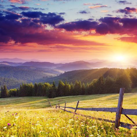 Majestic Sunset in the Mountains Landscape.Carpathian, Ukraine. Photographic Print