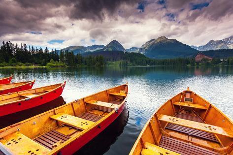 Mountain Lake in National Park High Tatra. Dramatic Overcast Sky. Strbske Pleso, Slovakia, Europe. Photographic Print