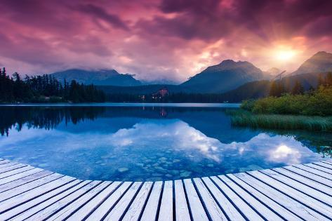Mountain Lake in National Park High Tatra. Dramatic Overcrast Sky. Strbske Pleso, Slovakia, Europe. Photographic Print