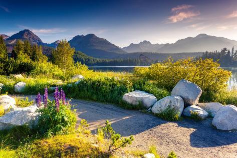 Mountain Lake in National Park High Tatra. Strbske Pleso, Slovakia, Europe. Beauty World. Photographic Print