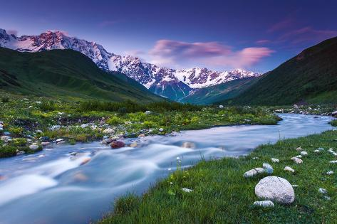 River in Mountain Valley at the Foot of  Mt. Shkhara. Upper Svaneti, Georgia, Europe. Caucasus Moun Photographic Print