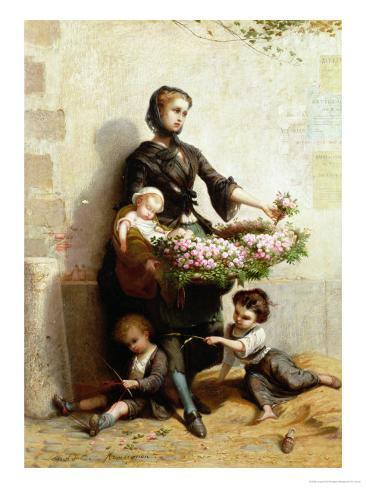 Victorian Flower Seller Giclee Print
