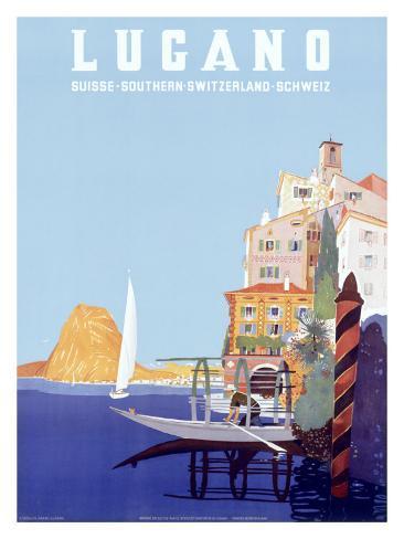 Italian Resort Lugano Giclee Print