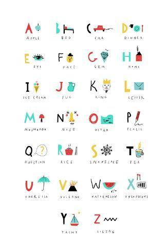 Cute Alphabet - Letters and Words Art Print