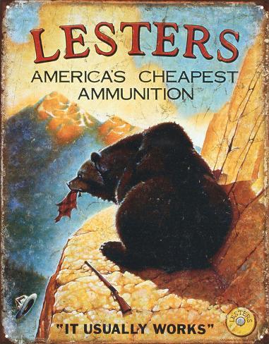 Lester's Ammunition Hunting Ammo Tin Sign